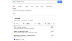 Google Displaying Restaurant Menus and Pricing